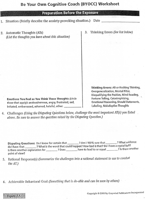 Anxiety In Vivo Exposure Worksheet For Anxiety Therapy Social